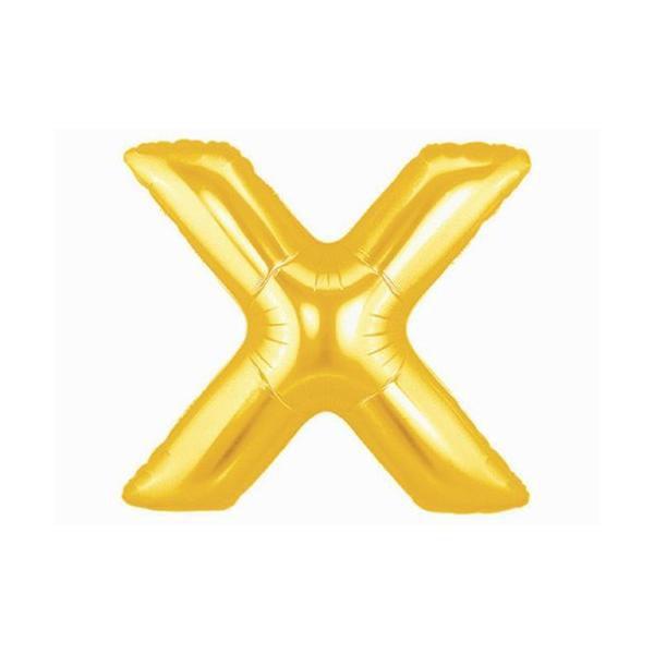 Balão Metalizado Dourado Letra X - 40cm