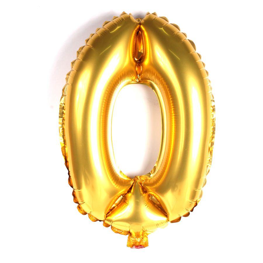 Balão Metalizado Dourado Número 0 - 40cm