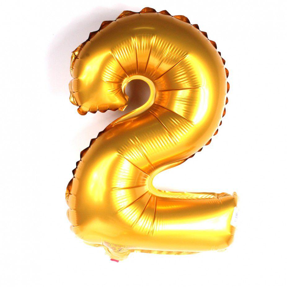 Balão Metalizado Dourado Número 2 - 40cm
