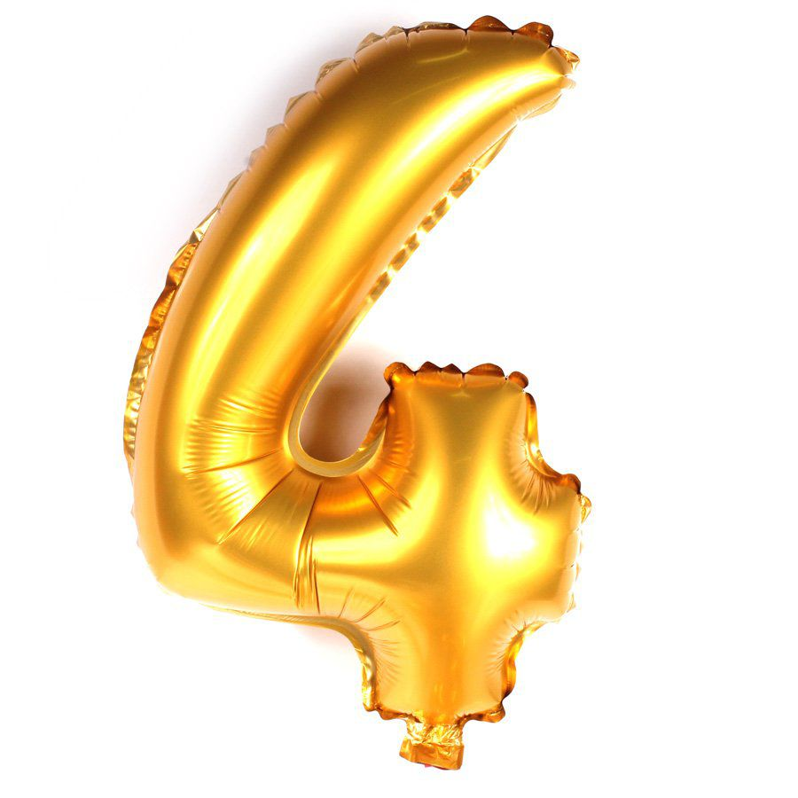 Balão Metalizado Dourado Número 4 - 40cm