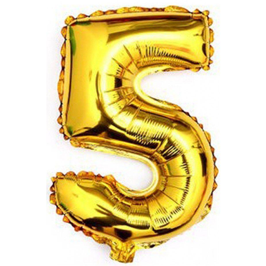Balão Metalizado Dourado Número 5 - 40cm