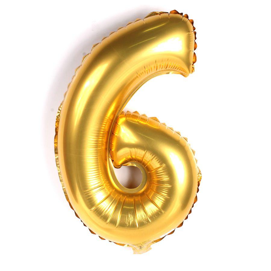 Balão Metalizado Dourado Número 6 - 40cm