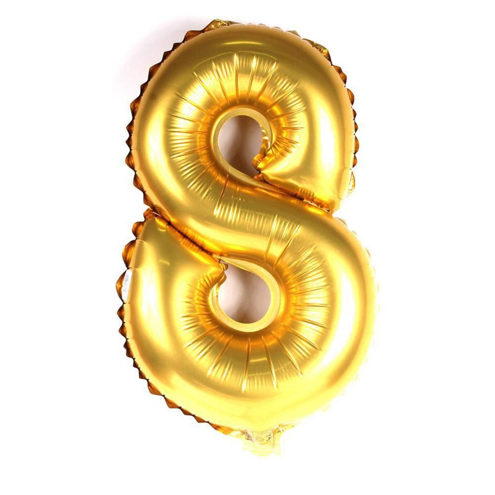 Balão Metalizado Dourado Número 8 - 40cm