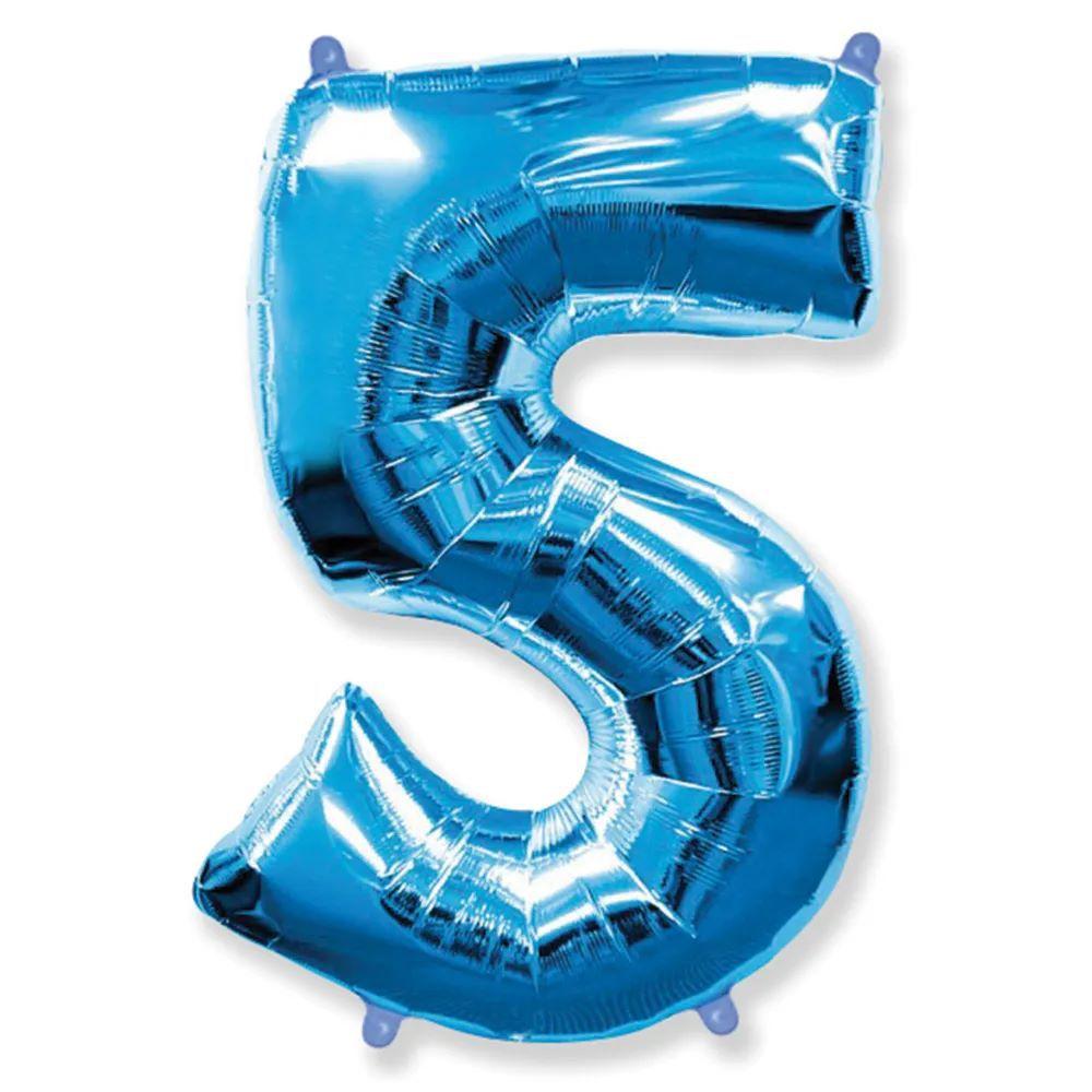 Balão Metalizado Número 5 Azul - 1 metro