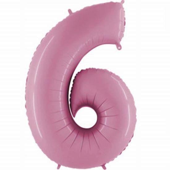 Balão Metalizado Número 6 Rosa - 1 metro
