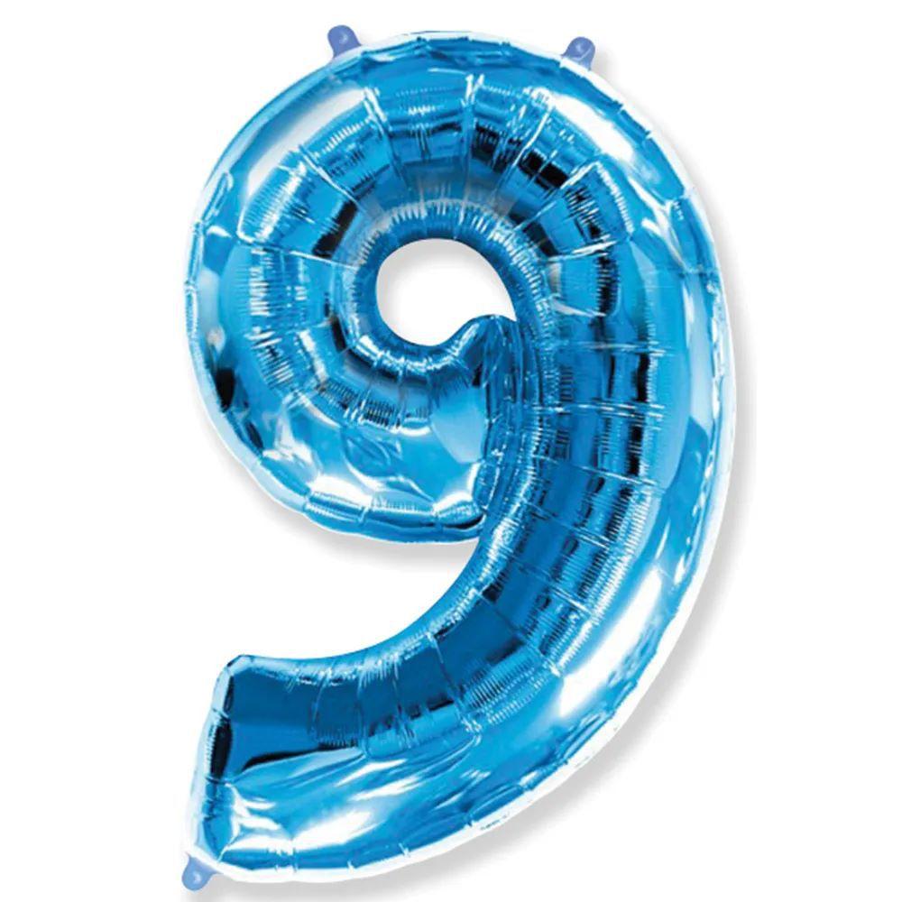 Balão Metalizado Número 9 Azul - 1 metro