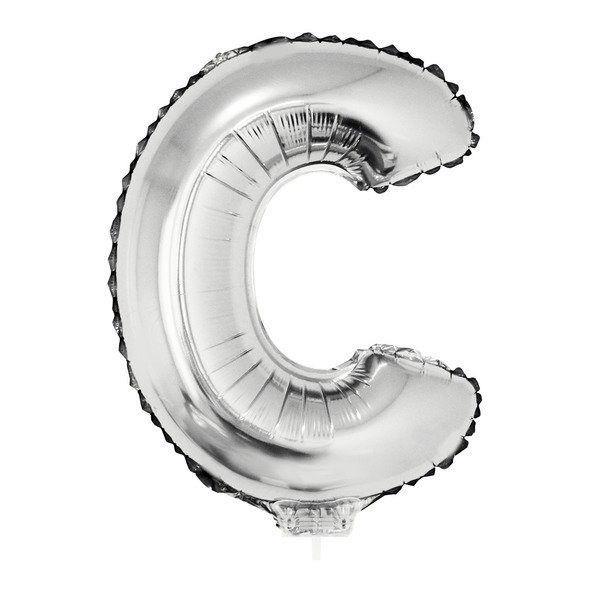 Balão Metalizado Prata Letra C - 40cm