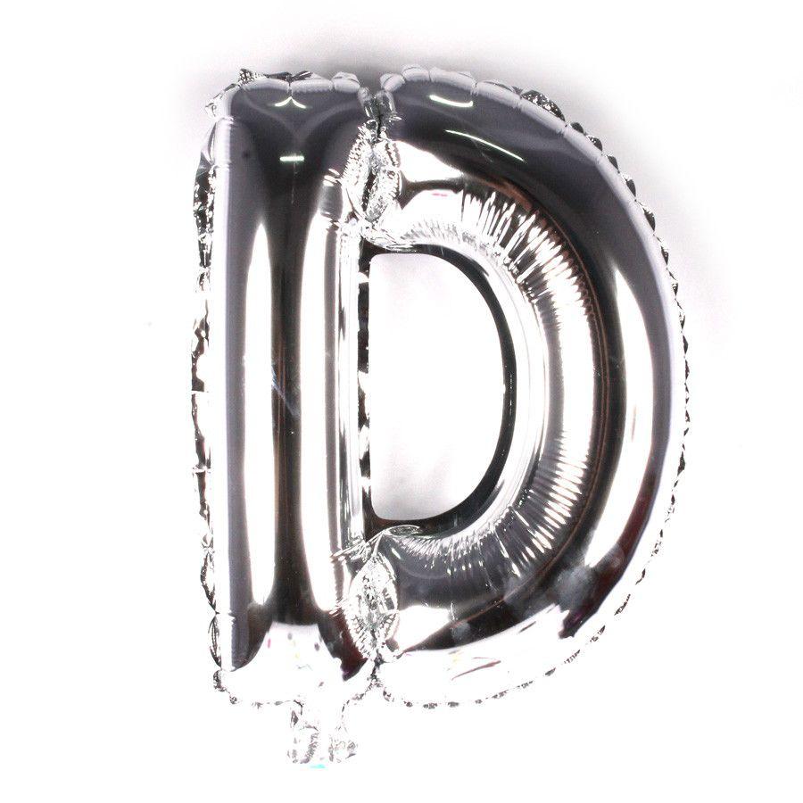 Balão Metalizado Prata Letra D - 40cm