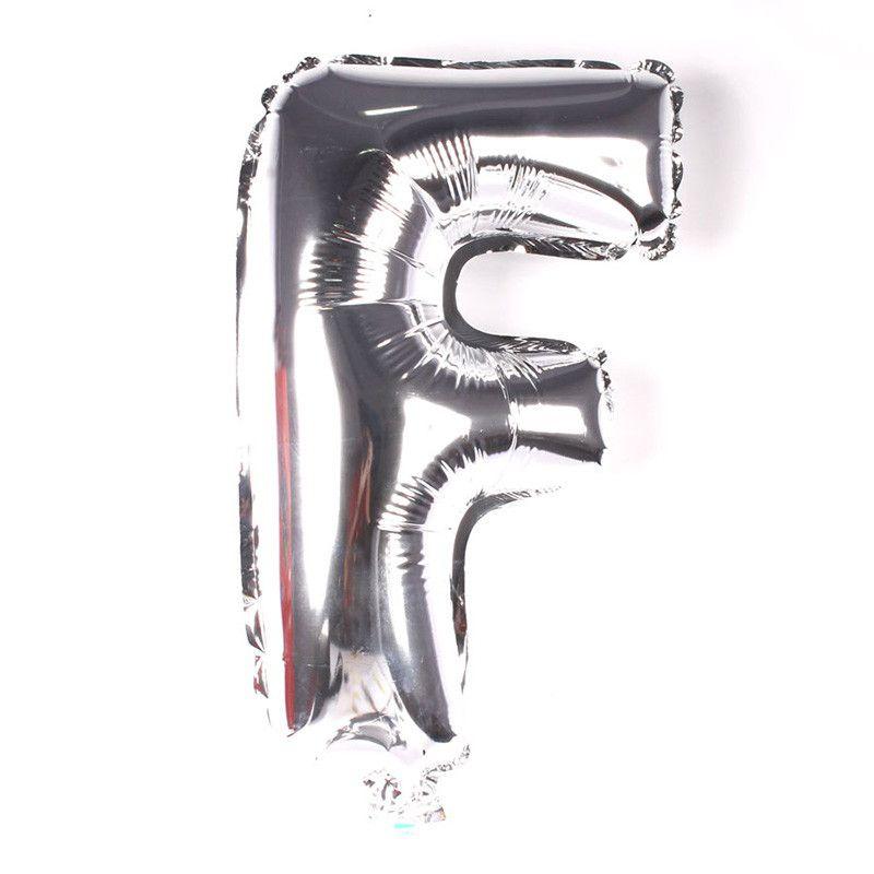 Balão Metalizado Prata Letra F - 40cm