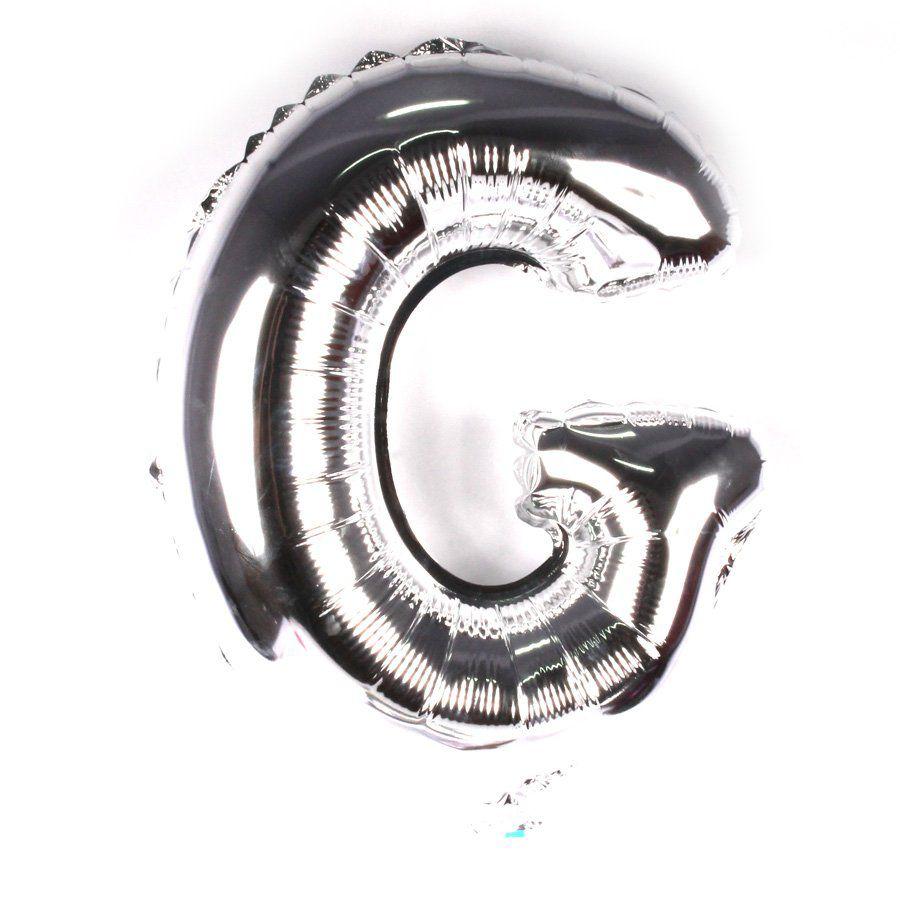 Balão Metalizado Prata Letra G - 40cm