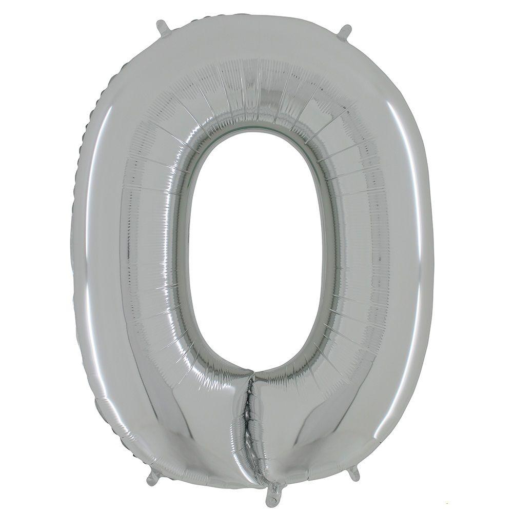 Balão Metalizado Prata Letra O - 40cm