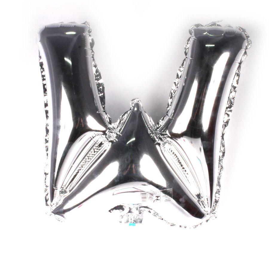 Balão Metalizado Prata Letra W - 40cm