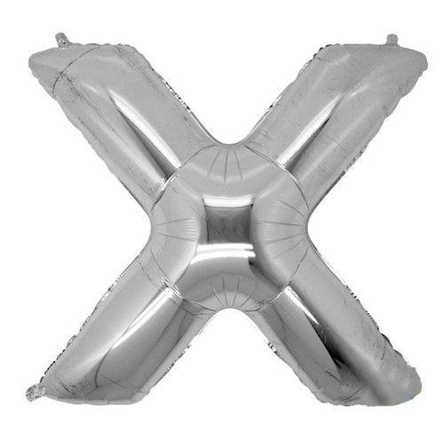 Balão Metalizado Prata Letra X - 40cm
