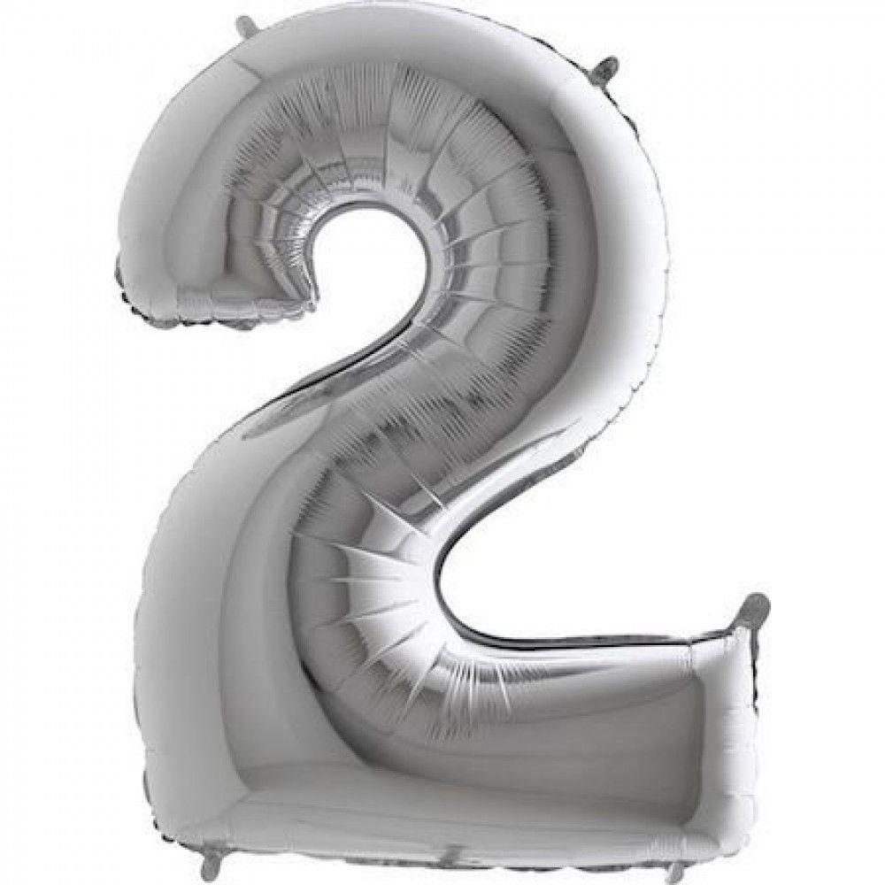 Balão Metalizado Prata Número 2 40cm