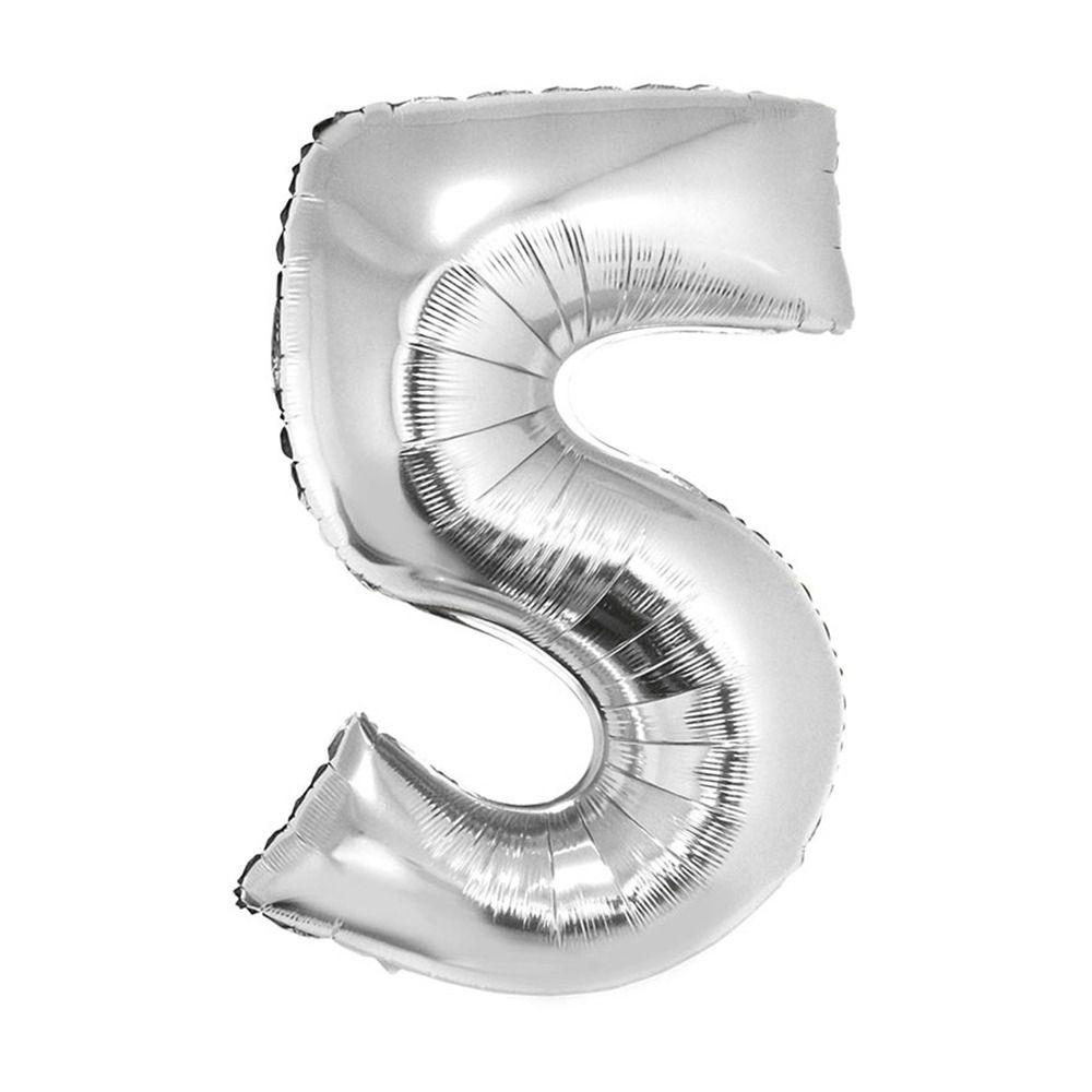Balão Metalizado Prata Número 5 - 40cm