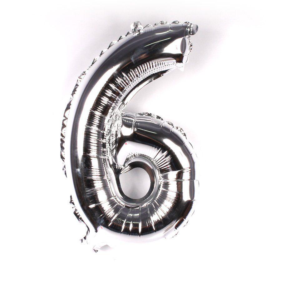 Balão Metalizado Prata Número 6 - 40cm