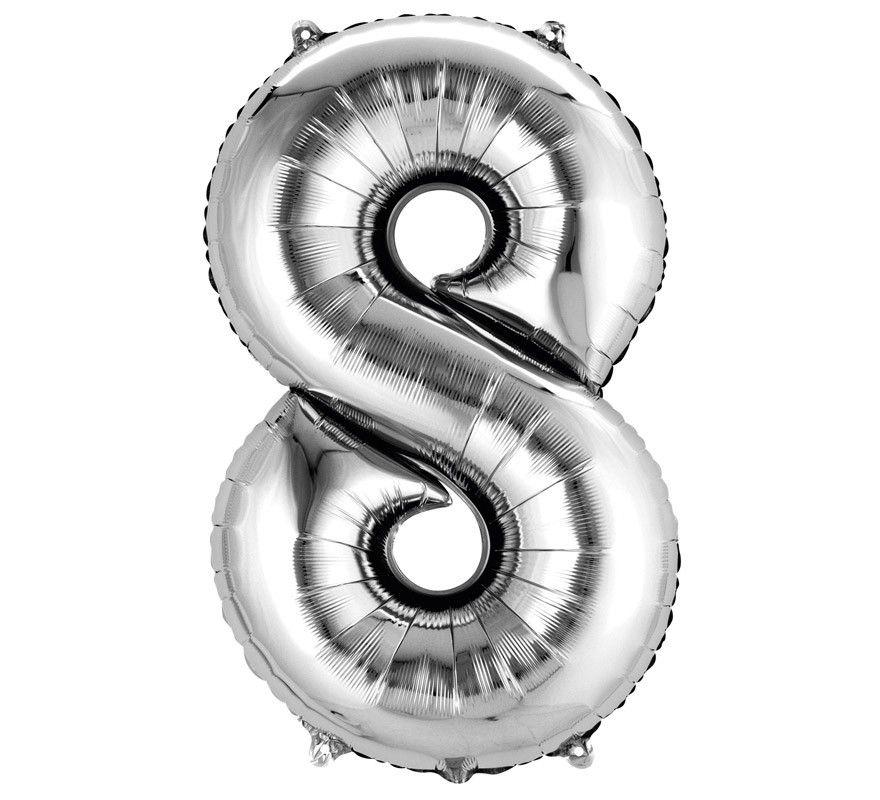 Balão Metalizado Prata Número 8 - 40cm