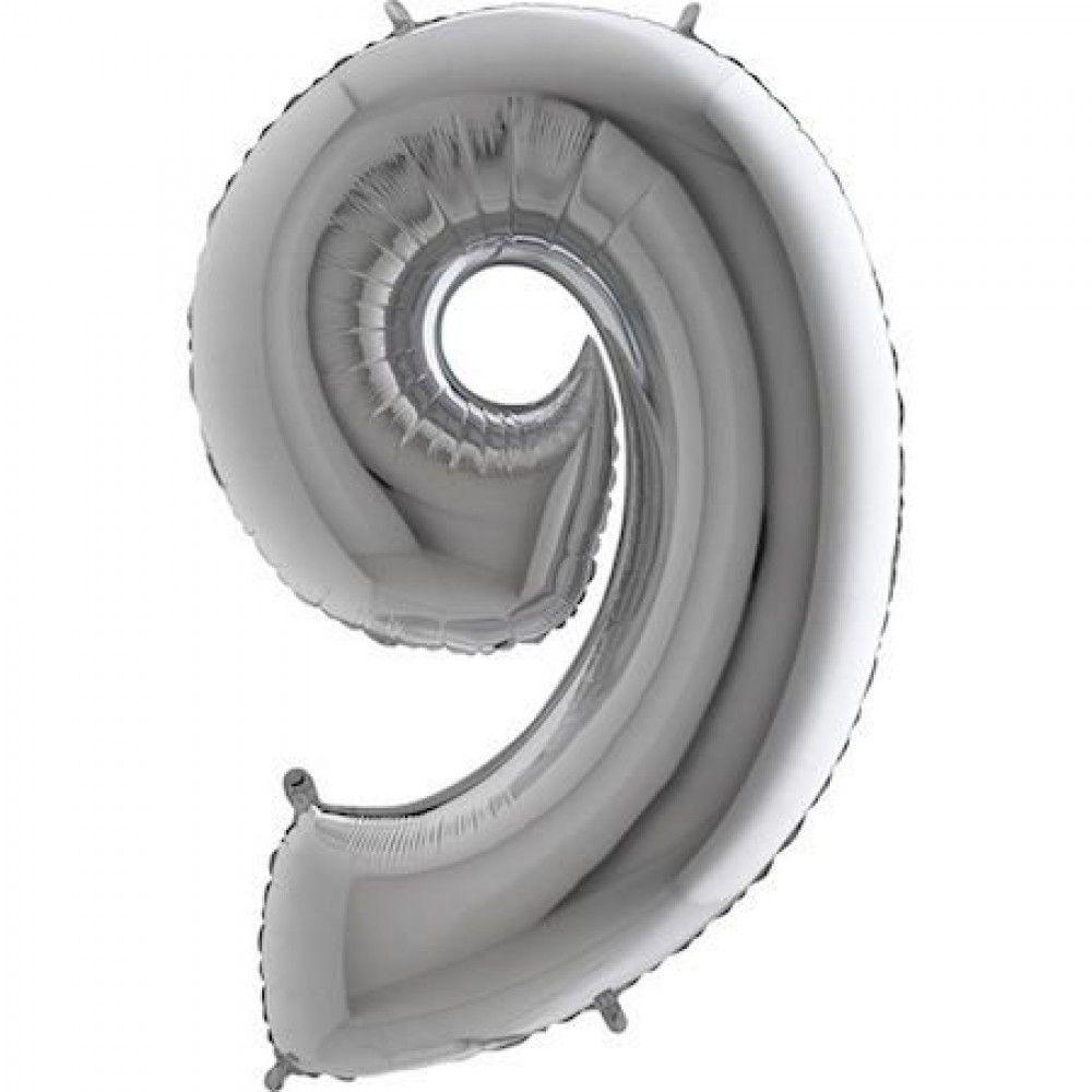 Balão Metalizado Prata Número 9 - 40cm