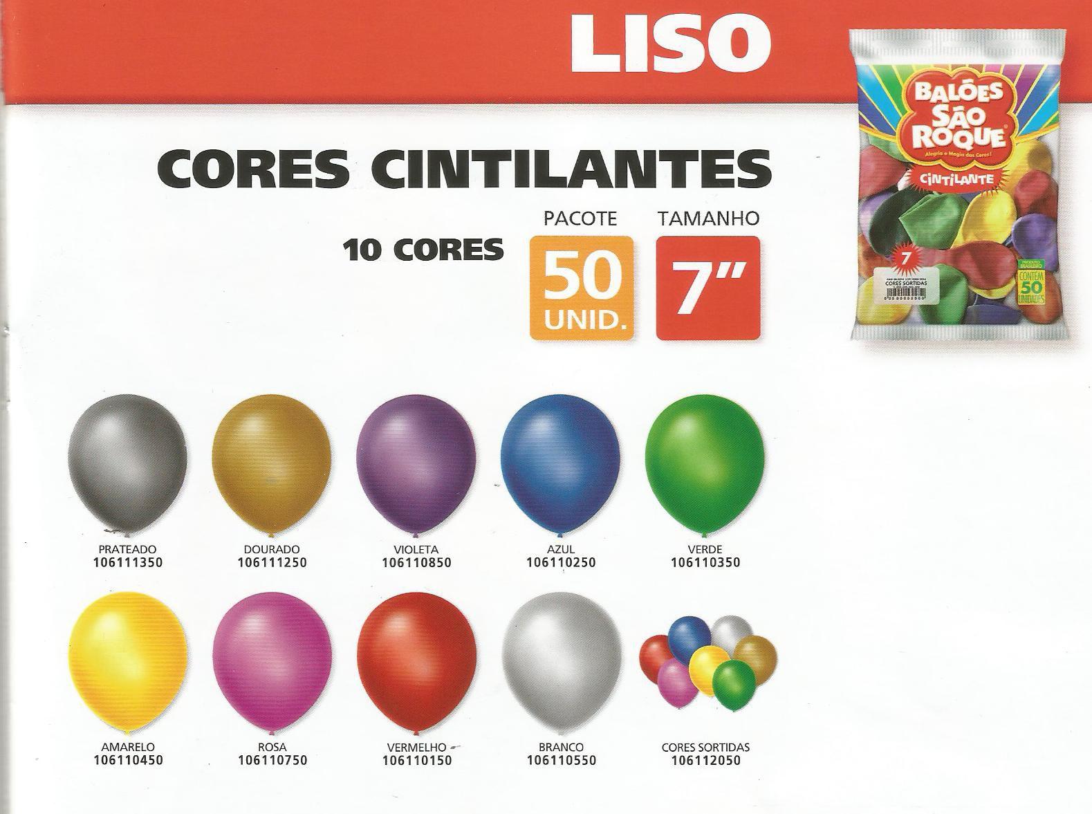 Balão São Roque Cintilante N°7 C/50un Sortido