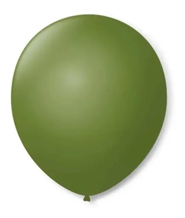 Balão São Roque N°5 Redondo C/50un Verde Militar
