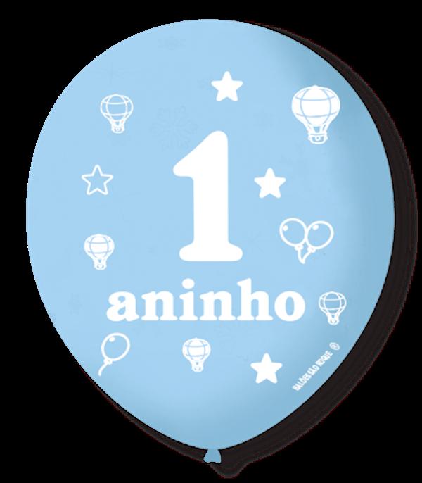 Balão São Roque N°9 C/25un Decorado 1 Aninho Azul Baby Com Branco