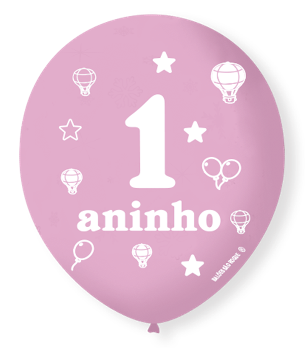 Balão São Roque N°9 C/25un Decorado 1 Aninho Rosa Baby Com Branco