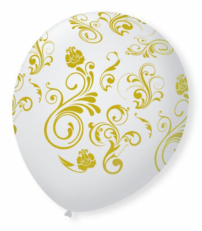 Balão São Roque N°9 C/25un Decorado Arabesco Branco Com Dourado
