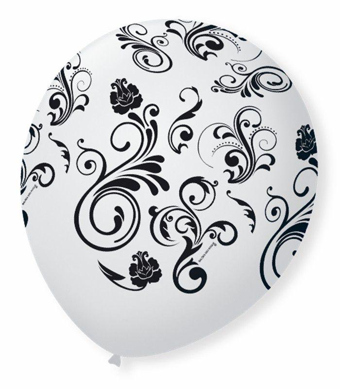 Balão São Roque N°9 C/25un Decorado Arabesco Branco Com Preto