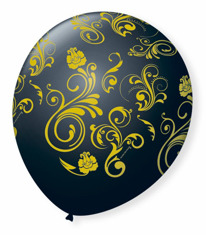 Balão São Roque N°9 C/25un Decorado Arabesco Preto Com Dourado