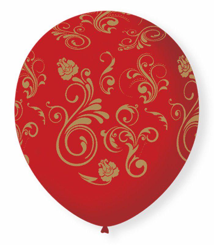 Balão São Roque N°9 C/25un Decorado Arabesco Vermelho Com Dourado