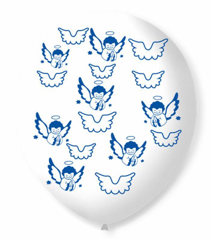 Balão São Roque N°9 C/25un Decorado Asinha de Anjo Transparente Com Azul Cobalto