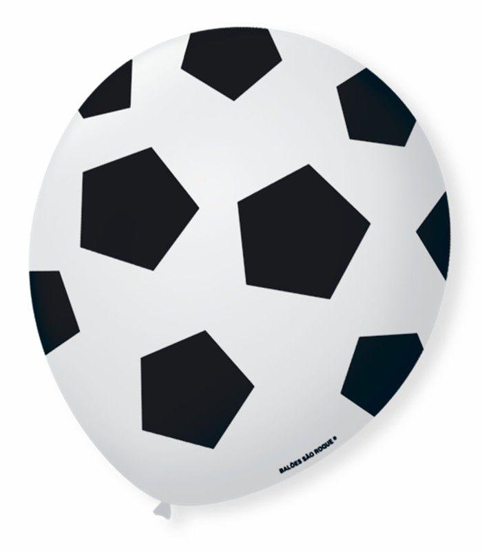 Balão São Roque N°9 C/25un Decorado Bola Futebol Branco Com Preto