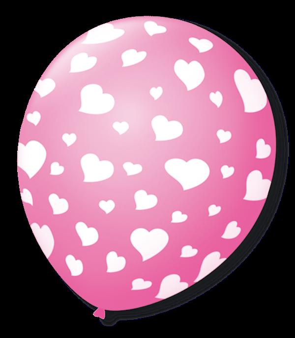 Balão São Roque N°9 C/25un Decorado Coração Rosa Tutti Frutti Com Branco