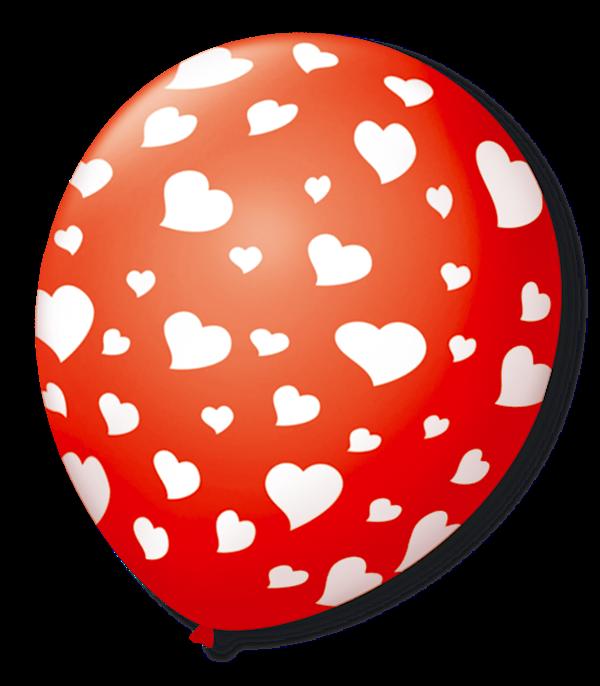 Balão São Roque N°9 C/25un Decorado Coração Vermelho Com Branco