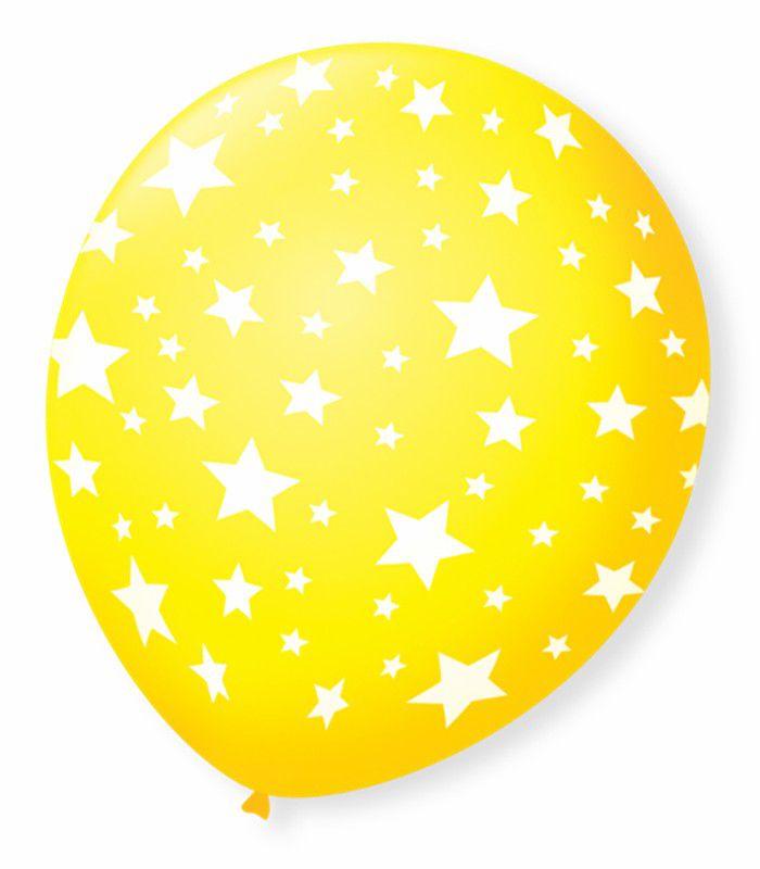 Balão São Roque N°9 C/25un Decorado Estrela Amarelo Com Branco