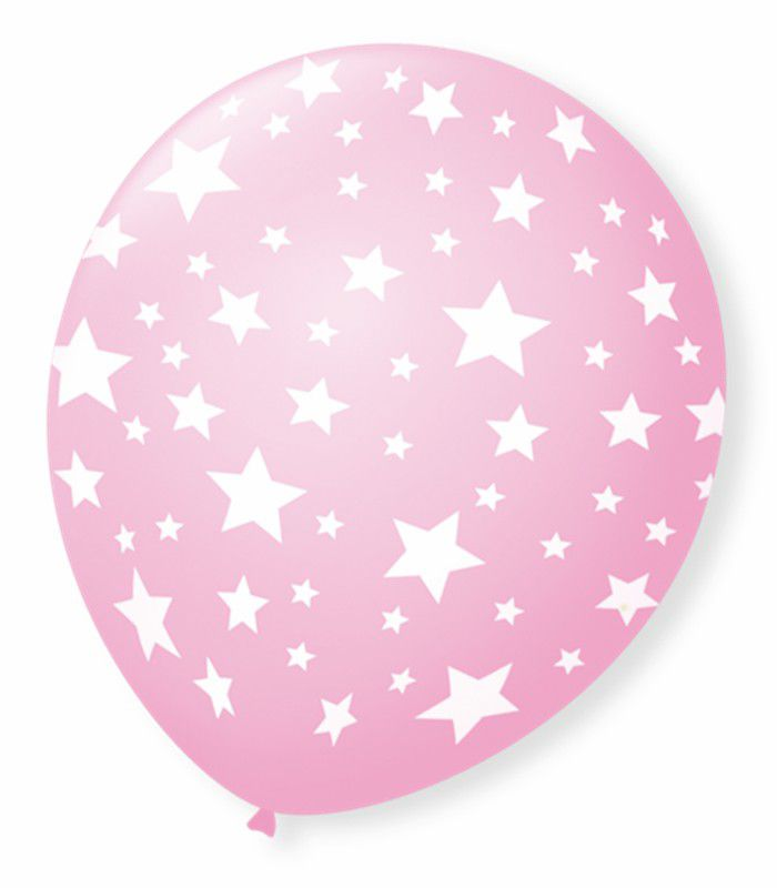 Balão São Roque N°9 C/25un Decorado Estrela Rosa Baby Com Branco