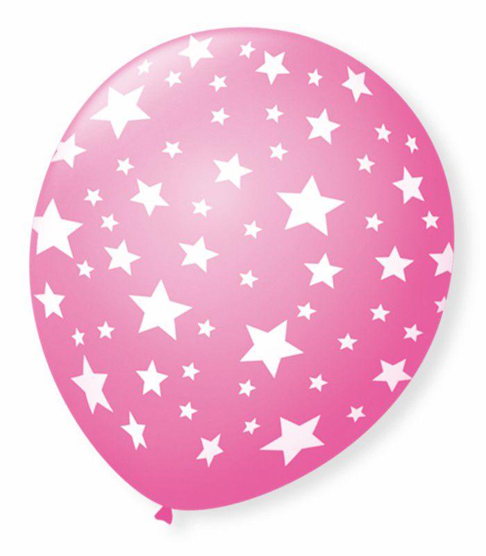 Balão São Roque N°9 C/25un Decorado Estrela Rosa Tutti Frutti Com Branco