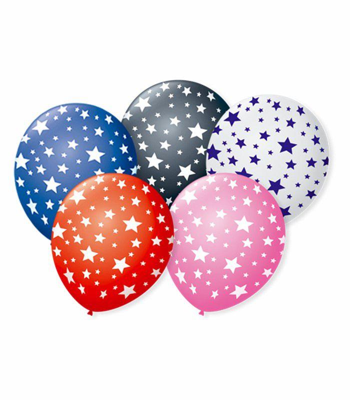 Balão São Roque N°9 C/25un Decorado Estrela Sortida