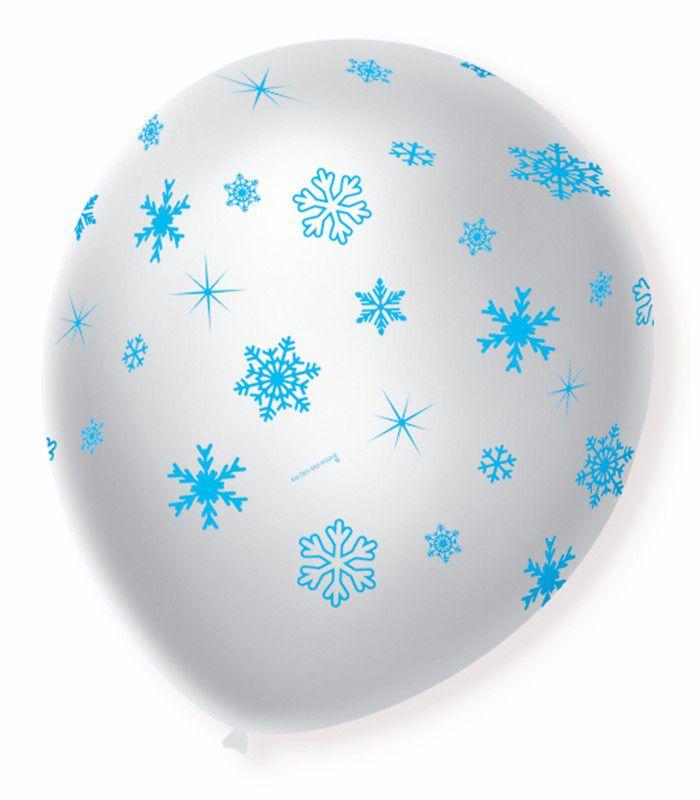 Balão São Roque N°9 C/25un Decorado Flocos de Neve Branco Cintilante Com Azul Cobalto