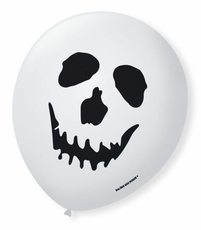 Balão São Roque N°9 C/25un Decorado Halloween Caveira Branco Com Preto