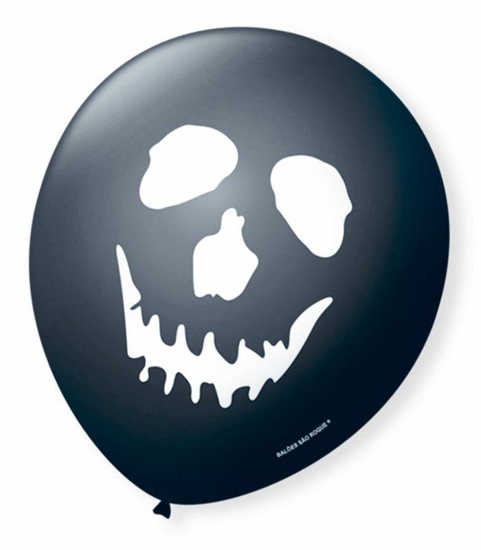 Balão São Roque N°9 C/25un Decorado Halloween Caveira Preto Com Branco