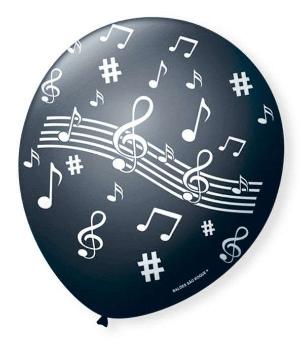Balão São Roque N°9 C/25un Decorado Notas Musicais Preto Com Branco