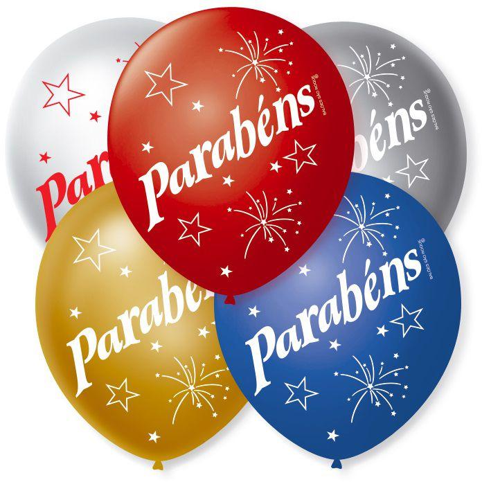 Balão São Roque N°9 C/25un Decorado Parabéns Sortido Cintilante