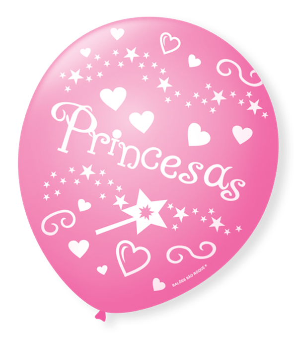 Balão São Roque N°9 C/25un Decorado Princesas Rosa Tutti Frutti Com Branco