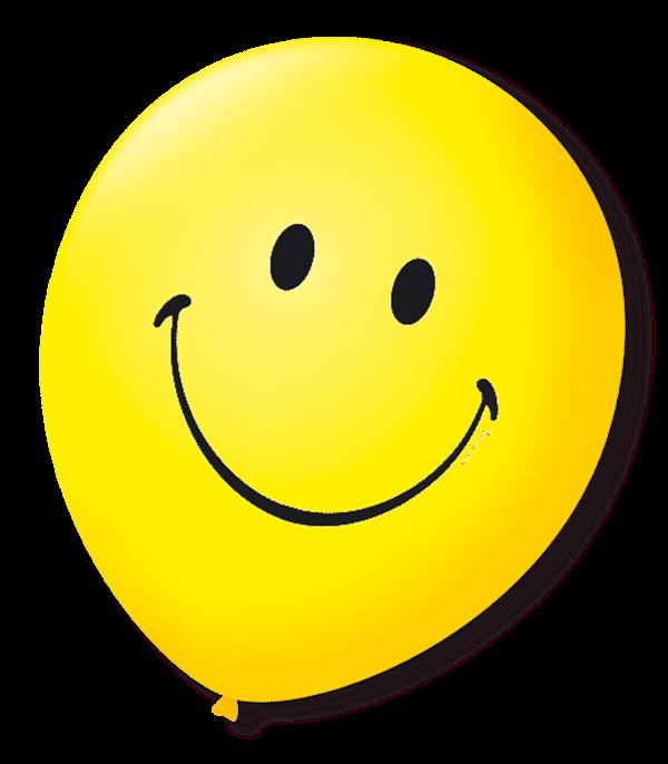Balão São Roque N°9 C/25un Decorado Smile Amarelo Citrino com Preto