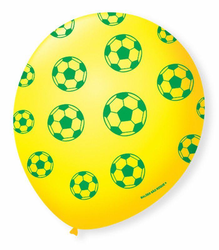 Balão São Roque N°9 C/25un Decorado Torcida Amarelo Citrino Com Verde