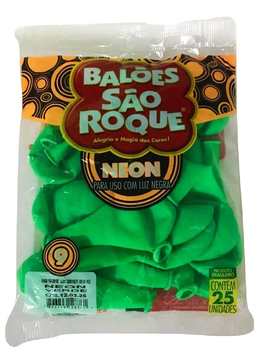 Balão São Roque Neon N°9 C/25un Verde