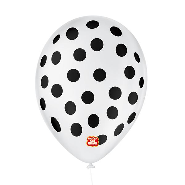 Balão São Roque Póa N°9 C/25un Branca Com Bolinha Preta