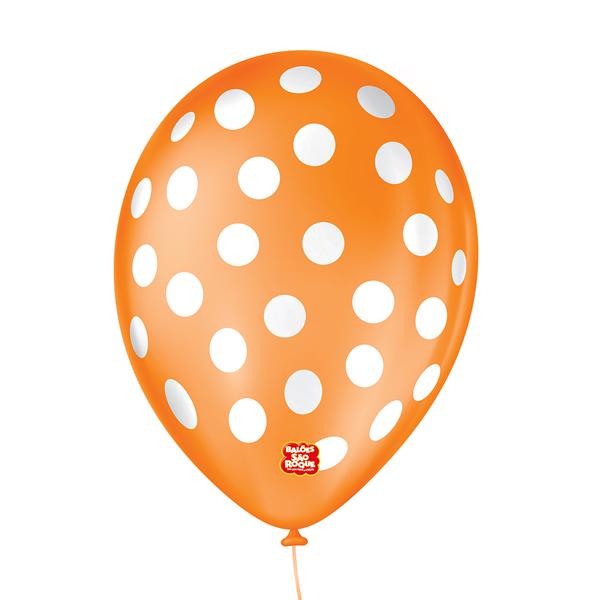 Balão São Roque Póa N°9 C/25un Laranja Mandarim Com Bolinha Branca