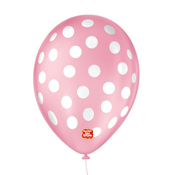 Balão São Roque Póa N°9 C/25un Rosa Tutti - Frutti Com Bolinha Branca
